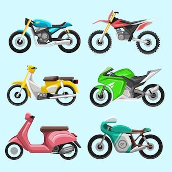Conjunto de iconos y elementos de motocicletas diferentes