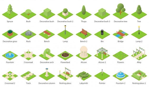 Conjunto de iconos de elementos de la naturaleza del parque
