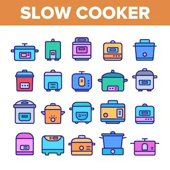 Conjunto de iconos de elementos de olla de cocción lenta