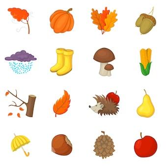 Conjunto de iconos de elementos de otoño