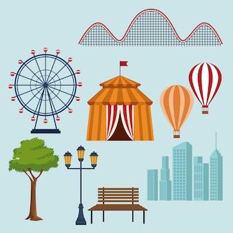 Conjunto de iconos de elementos de parque de atracciones