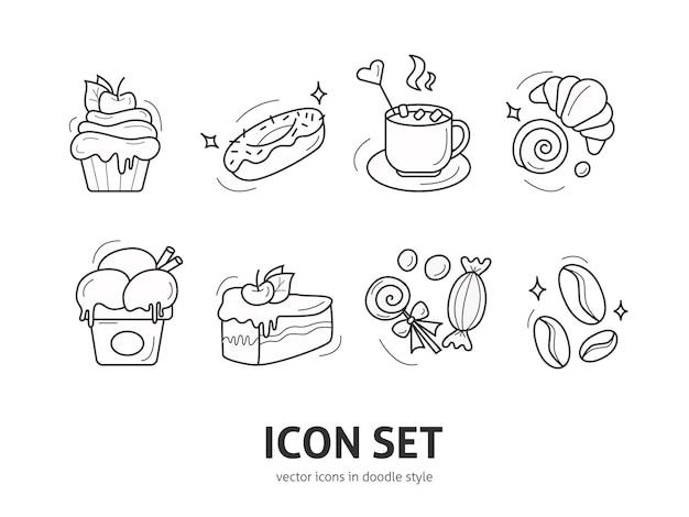 Conjunto de iconos de elementos de postre en estilo doodle diseño para tarjetas de felicitación menú de cafetería o restaurante