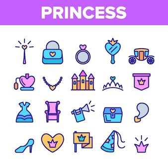 Conjunto de iconos de elementos de princesa