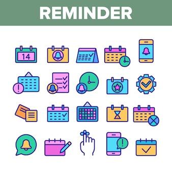 Conjunto de iconos de elementos recordatorios
