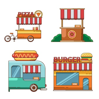 Conjunto de iconos y elementos de soporte plano de comida en la calle