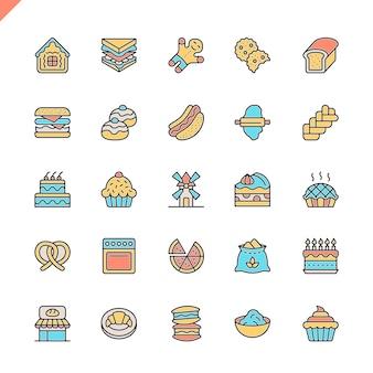 Conjunto de iconos de elementos de tienda de panadería de línea plana