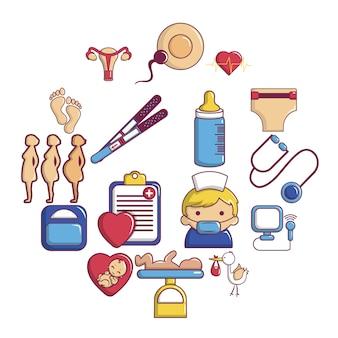 Conjunto de iconos de embarazo, estilo de dibujos animados