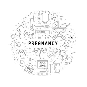 Conjunto de iconos de embarazo