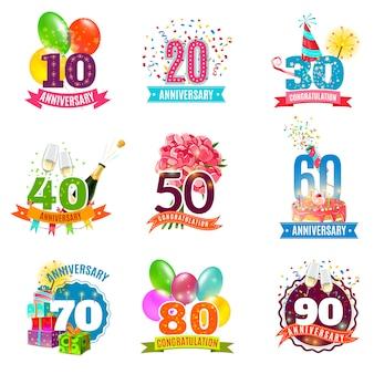 Conjunto de iconos de emblemas de cumpleaños de aniversario