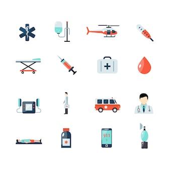 Conjunto de iconos de emergencia paramédico