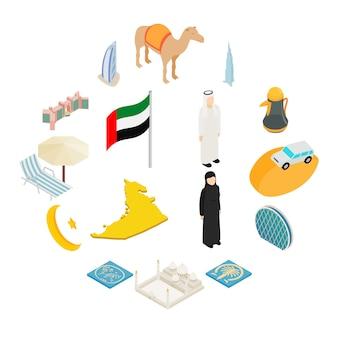 Conjunto de iconos de los emiratos árabes unidos, estilo isométrico