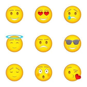 Conjunto de iconos emoji, estilo de dibujos animados