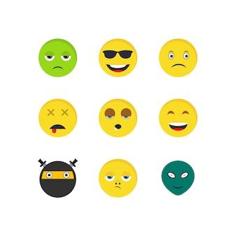 Conjunto de iconos emoji sobre fondo blanco vector elementos aislados