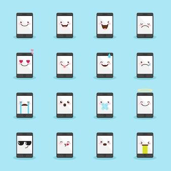 Conjunto de iconos emoji teléfono inteligente