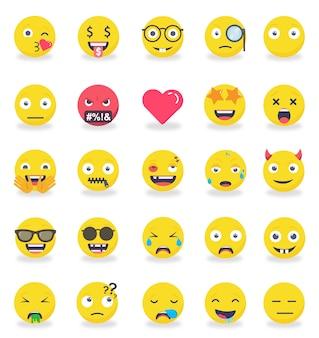 Conjunto de iconos de emoticonos smileys color plano