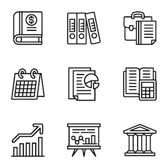 Conjunto de iconos de la empresa. esquema conjunto de 9 iconos de la empresa