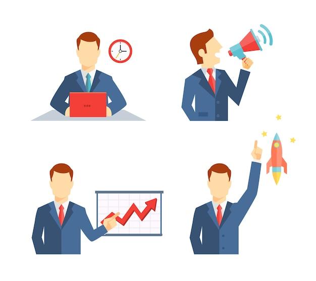 Conjunto de iconos de empresario que representan a un hombre que trabaja en su escritorio hasta una fecha límite hablando en público en un megáfono haciendo una presentación y su carrera despegando como un cohete o una idea inspiradora