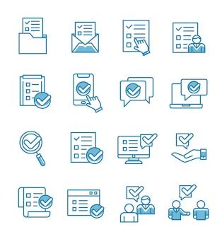 Conjunto de iconos de encuesta con estilo de contorno.