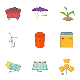 Conjunto de iconos de energía ecológica, estilo de dibujos animados