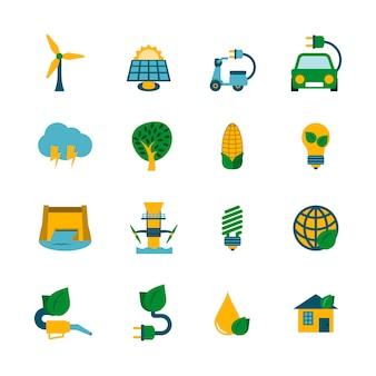 Conjunto de iconos de energía ecológica