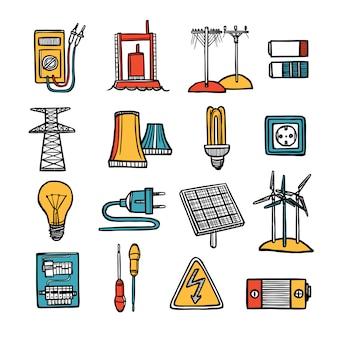Conjunto de iconos de energía y energía