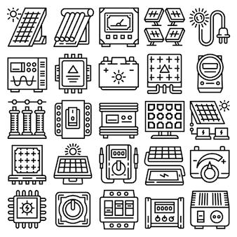 Conjunto de iconos de energía solar, estilo de contorno