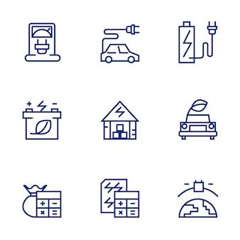 Conjunto de iconos de energía verde