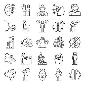 Conjunto de iconos de la enfermedad de alzheimer, estilo de contorno