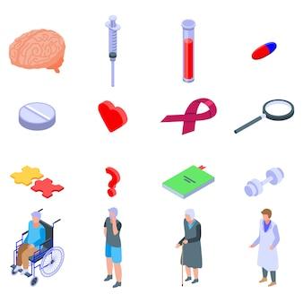 Conjunto de iconos de enfermedad de alzheimer, estilo isométrico