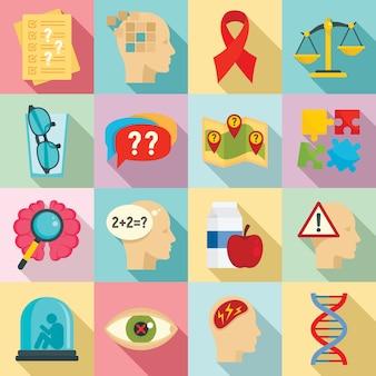 Conjunto de iconos de la enfermedad de alzheimer, estilo plano