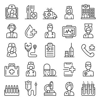 Conjunto de iconos de enfermera, estilo de contorno