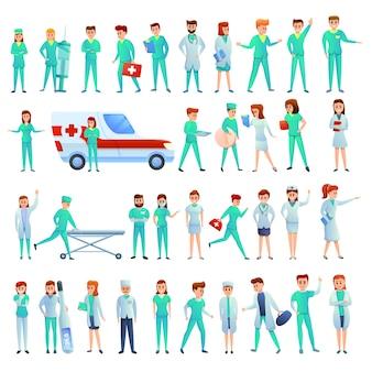 Conjunto de iconos de enfermera, estilo de dibujos animados