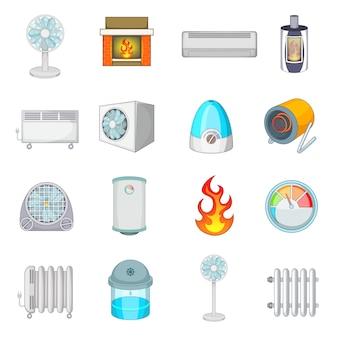 Conjunto de iconos de enfriamiento de calefacción