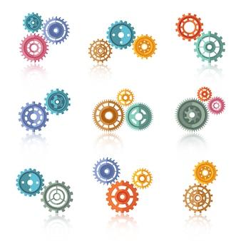 Conjunto de iconos de engranajes de color conectado