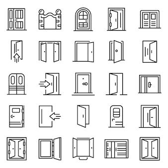 Conjunto de iconos de entrada, estilo de contorno