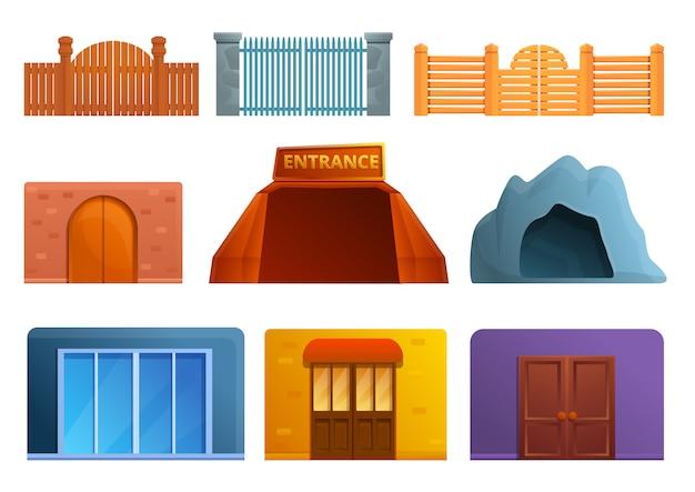 Conjunto de iconos de entrada, estilo de dibujos animados
