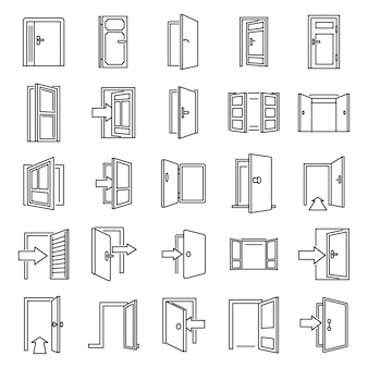 Conjunto de iconos de entrada y salida