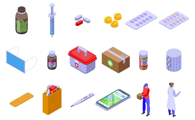 Conjunto de iconos de entrega de medicamentos. conjunto isométrico de iconos de entrega de medicamentos para web