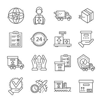 Conjunto de iconos de entrega de paquete. esquema conjunto de iconos de vector de entrega de paquete