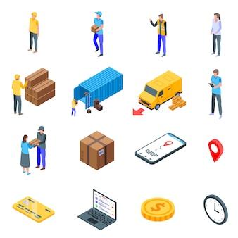Conjunto de iconos de entrega de paquetes, estilo isométrico