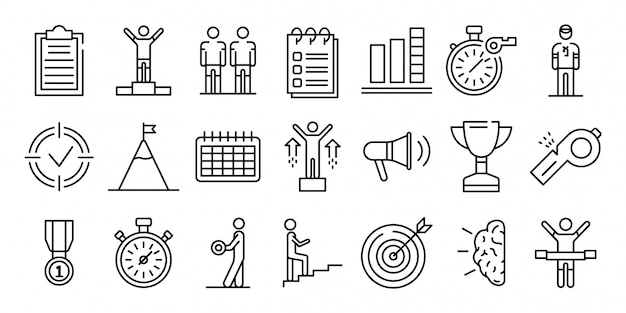 Conjunto de iconos de entrenador, estilo de contorno