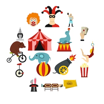 Conjunto de iconos de entretenimiento de circo, estilo plano
