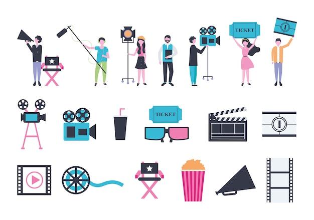 Conjunto de iconos de entretenimiento de personas y cine