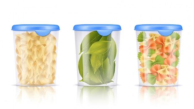 Conjunto de iconos de envases de alimentos de plástico lleno