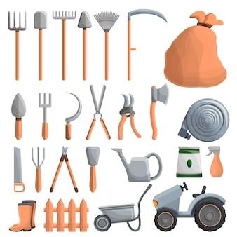 Conjunto de iconos de equipo agrícola, estilo de dibujos animados