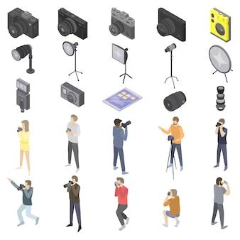 Conjunto de iconos de equipo fotógrafo, estilo isométrico
