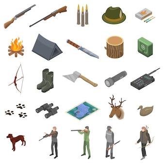 Conjunto de iconos de equipo moderno de caza, estilo isométrico