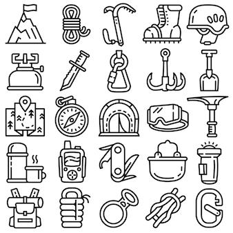 Conjunto de iconos de equipo montañismo, estilo de contorno