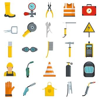 Conjunto de iconos de equipo soldador vector aislado