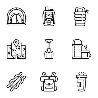 Conjunto de iconos de equipos de camping, estilo de contorno